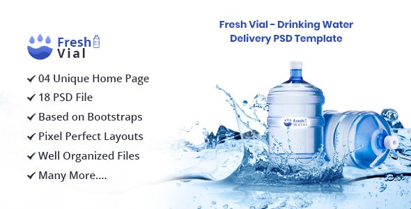 Fresh Vial - Drinking Mineral Water Delivery PSD Template - Nonprofit PSD Templates