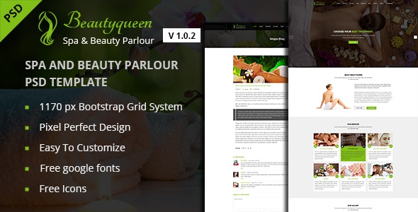 Beautyqueen - Spa & Beauty Salon One Page PSD Template - Health & Beauty Retail