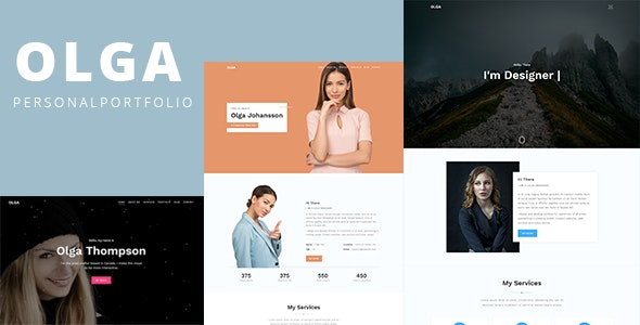 Olga – Bootstrap 4 One Page Personal Portfolio Template - Personal Site Templates