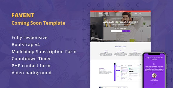 Favent - Coming Soon Responsive Template - Specialty Pages Site Templates