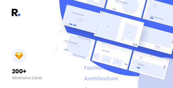 Raspine Wireframe Kit for Sketch - Sketch Templates