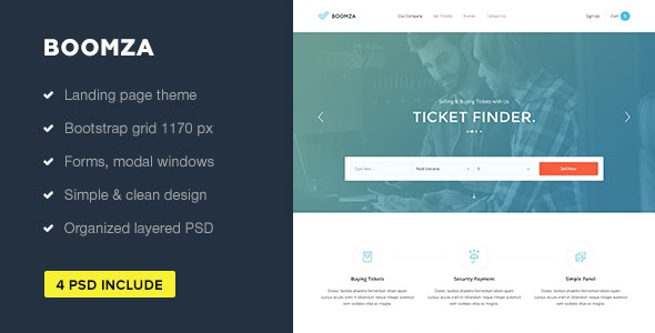 Boomza — Event Landing Page PSD Template - Events Entertainment