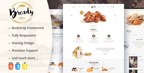 Bready - Bakery, Cakery & Food Template - Food Retail