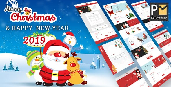 Christmas & 2019 New Year Party HTML Template With Wish Mailer