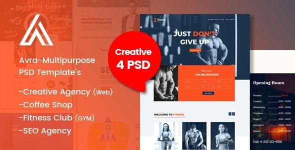 Avra-Multipurpose Business Landing Page & Templates: - Photoshop UI Templates