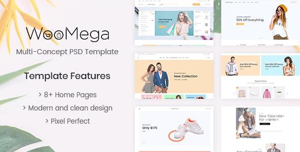 WooMega - Minimalist eCommerce PSD Template - Retail Photoshop