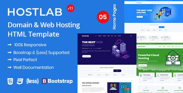 Hostlab - Domain, Web Hosting & WHMCS HTML Template