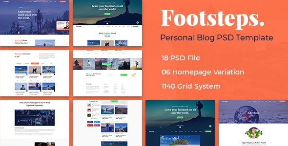 Footstep Personal Blog PSD Template - Personal Photoshop