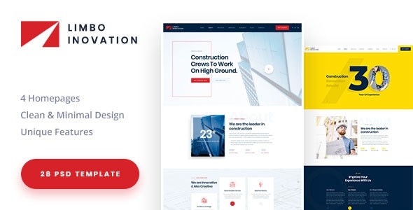 Limbo-Construction Building Company PSD Template - Business Corporate