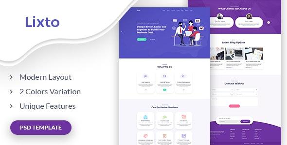 Lixto - One page Digital Agency PSD Template - Creative PSD Templates
