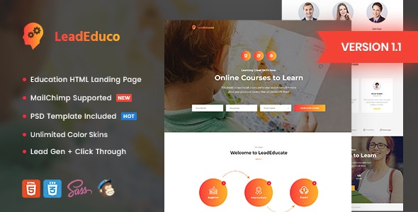 LeadEduco - Education HTML Landing Page Template - Marketing Corporate