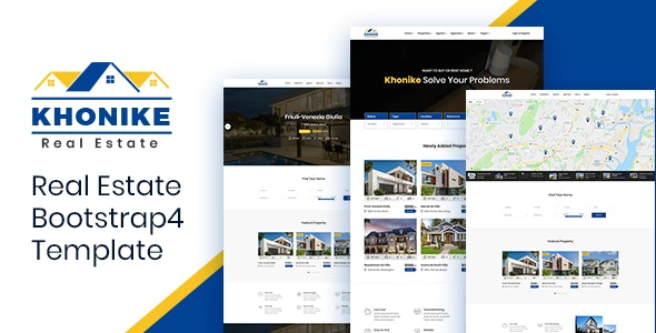 Khonike - Real Estate Bootstrap 4 Template - Business Corporate