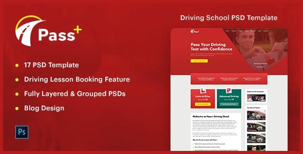 PassPlus - Driving School PSD Template - PSD Templates