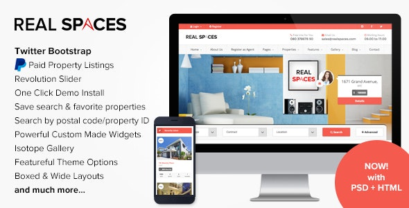 Real Spaces - WordPress Properties Directory Theme - Real Estate WordPress