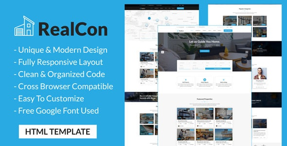 RealCon - Real Estate Property Listing HTML Template - Retail Site Templates