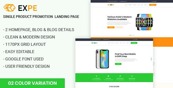 EXPE - Ultimate Single Product Promotion Landing Page - Marketing Corporate