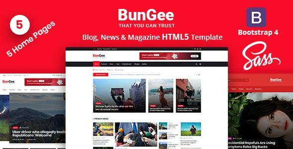 BunGee - Blog, News & Magazine HTML5 Template - Entertainment Site Templates