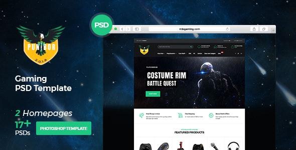 Punibor - Powerful Gaming PSD Template - Entertainment Photoshop