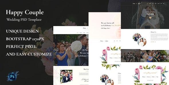 Happy Couple - Wedding PSD Template - Environmental Nonprofit