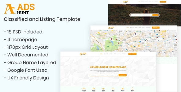 ADSHUNT – Classified and Listing Template - Corporate Photoshop