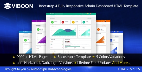 Viboon - Bootstrap 4 Fully Responsive Admin Dashboard HTML Template - Admin Templates Site Templates