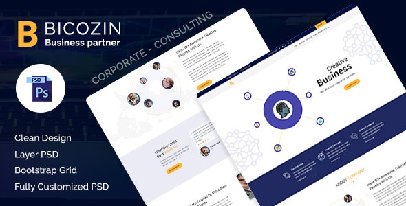 Bicozin - Business & Consulting PSD Template - Corporate Photoshop
