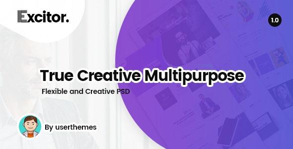 Excitor - Creative & Clean Multipurpose Business, Portfolio, Agencies PSD Template - Business Corporate