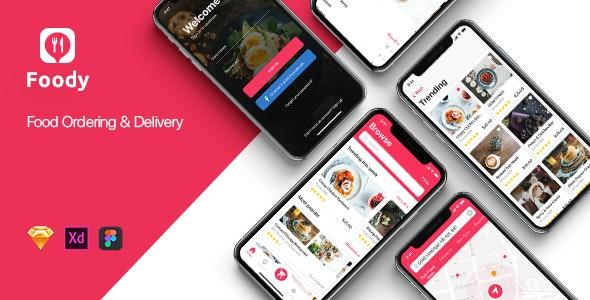 Foody mobile App UI Kit for Sketch - Food Retail