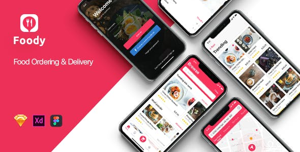 Foody mobile App UI Kit for Sketch
