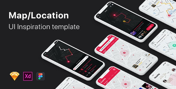 Mappy - Map UI Kit for Mobile App - Sketch UI Templates