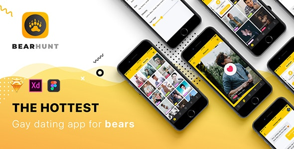 BearHunt Mobile UI Kit - Corporate Sketch