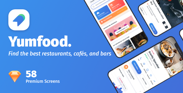 YumFood - Mobile App UI kit - Sketch Templates
