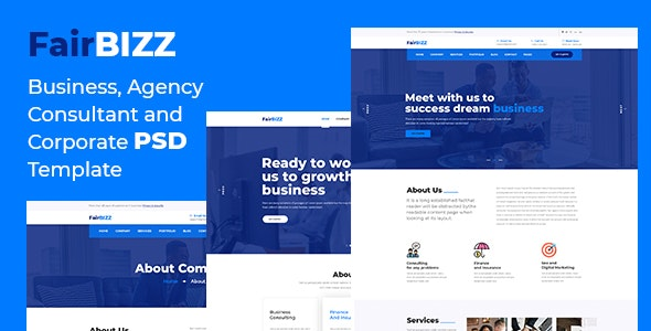 FairBizz - Business, Agency, Consultant and Corporate PSD Template - Business Corporate