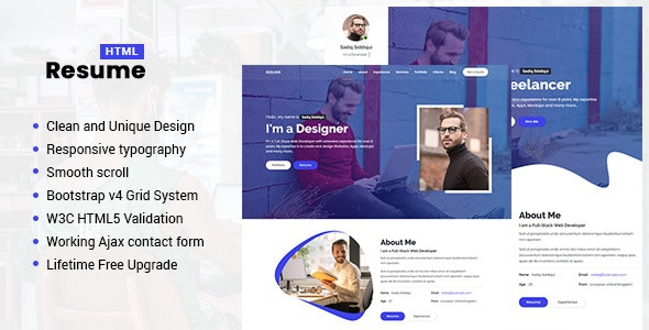 Resume Responsive Personal Portfolio Cv Template By Newtemplete