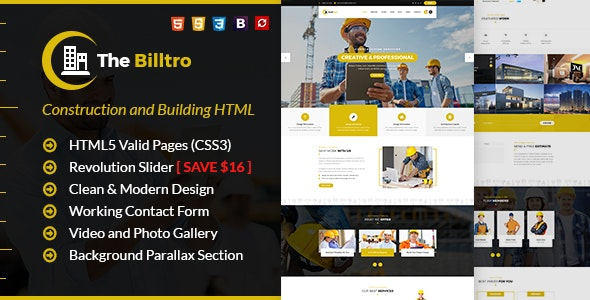 The Billtro - Construction HTML Template - Business Corporate
