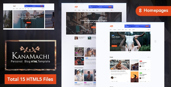 Kanamachi - Personal Blog HTML5 Template - Personal Site Templates
