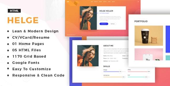 Helge - vCard / CV / Resume / Portfolio - Resume / CV Specialty Pages