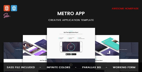 Metro App - Application HTML5 Template - Technology Site Templates