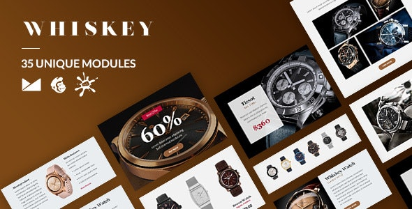 Whiskey Email-Template + Online Builder - Catalogs Email Templates