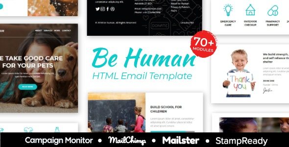 BeHuman - Multipurpose Responsive Email for Non Profit - StampReady Builder + Mailster & Mailchimp - Newsletters Email Templates