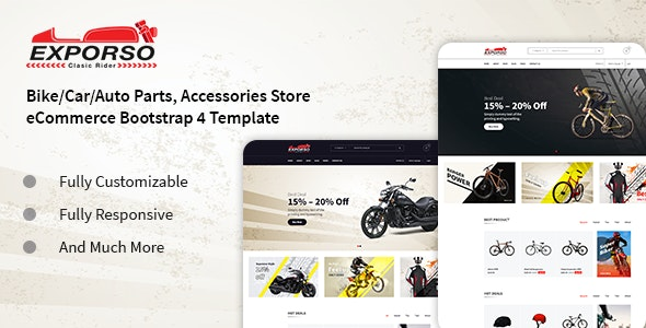 Exporso - Bike Parts & Accessories HTML Template - Shopping Retail