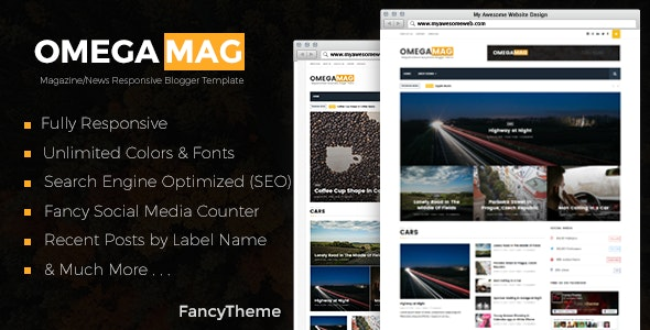 OmegaMag - Magazine/News Responsive Blogger Template - Blogger Blogging