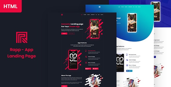 Rapp - App Landing page HTML5 Template - Software Technology