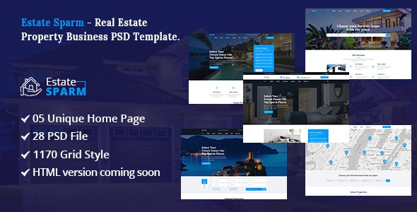 Estate Sparm - Real Estate PSD Template. - Business Corporate
