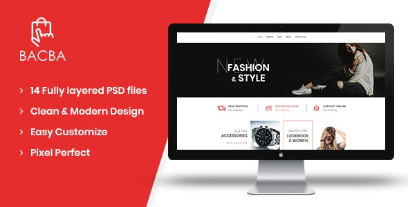 Bacba - Multipurpose eCommerce PSD Template - Retail Photoshop