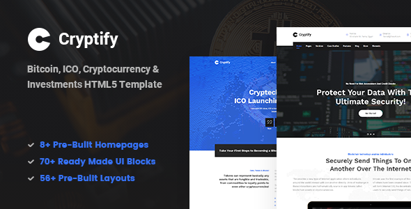 Cryptify - Responsive Bitcoin, Cryptocurrency and Investments HTML Template - Corporate Site Templates