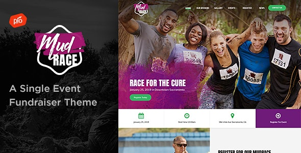 MudRace - A Single Event Fundraiser Theme - Charity Nonprofit