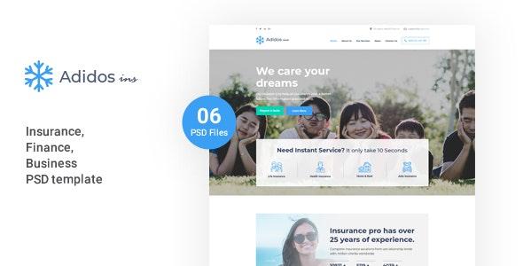 Adidos - Insurance, Business, Finance PSD Template - Corporate Photoshop