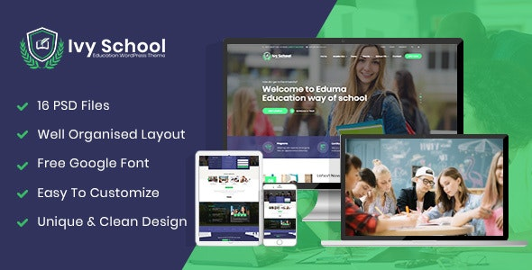 IvyPrep | Education & School PSD Template - Corporate Photoshop