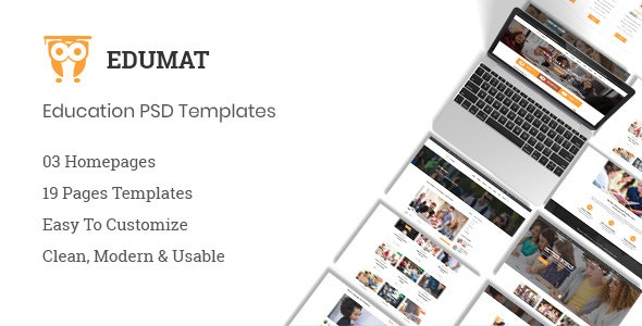 Edumat | Education & Courses PSD Template - Business Corporate